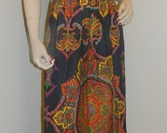Vintage 50's NEON Paisley Maxi Hostess Dress Gown Boho Chic mod