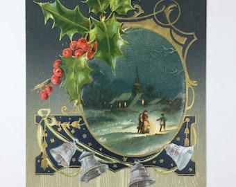 Vintage Christmas Postcard Winter scene Vingette Silver Bells and Holly border