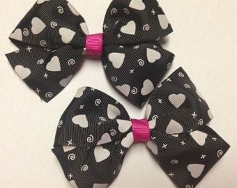 set of 2 pigtail black white heart fuschia hair bow clip birthday party favor pinwheel infant baby toddler teen rockabilly love barrette