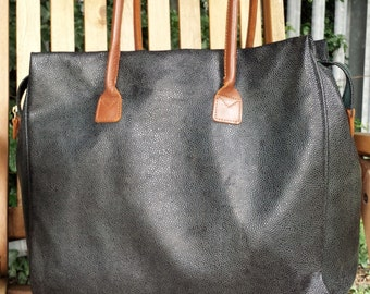 Vintage Brics Leather and pebble micro leather Tote Bag - Large tote, travel, shopper, overnight, everyday bag