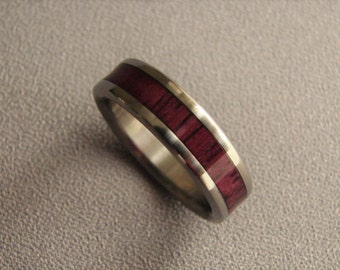 Purpleheart wood, titanium ring, wood inlay ring, exotic hardwood, wedding rings, wood inlay, titanium and wood rings