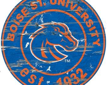 "NCAA Boise St. University  Round Distressed Established Wood Sign 24"" Diameter"