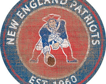 """NFL New England Patriots Round Distressed THROWBACK Established Wood Sign 24"""" In Diameter"""