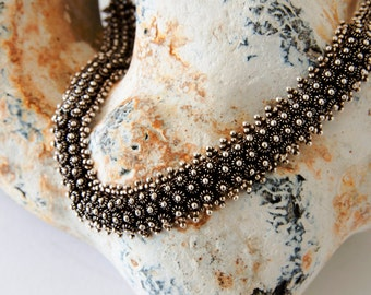 Sterling Silver Statement Necklace, Bib Necklace, Ornate Necklace, Heavy Necklace, Oxidised Necklace, Chunky Necklace,  Ethnic Necklace, 925