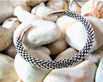 Woven braided sterling silver bangle