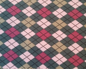 Fabric, Pink and Tan Argyle Fabric by Richlin fabrics, Sale Fabrics