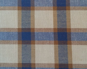 Fabric, Blue Printed Plaid By Richlin, Sale Fabric
