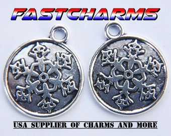 SNOWFLAKE TAG CHARMS, 20mm, 5/20 pcs, antique silver, jewelry making supplies, charms for bracelets, fastcharms, holiday charms (YB21M)
