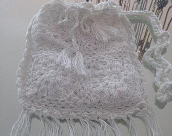 Crochet shoulder bag with fringe