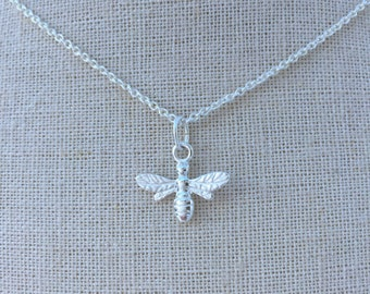 Sterling Silver Bee Necklace - Hanging Bee - Delicate - Everyday Wear - Long & Layered - Gift