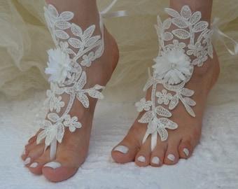 Free Ship bridal anklet, ivory Beach wedding barefoot sandals, bangle, wedding anklet, anklet, bridal, wedding, barefoot sandals, barefoot