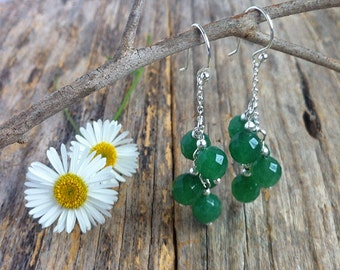 Natural Green Emerald Gemstone Earrings