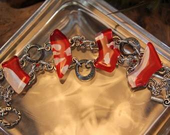 Red and White glass bracelet