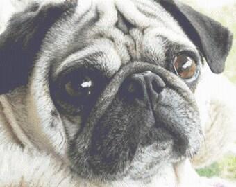 Pug Cross Stitch Chart PDF, Pug Dog Chart, Cross stitch pug pattern, pugs, pug