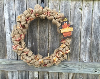Happy Fall Wreath, Autumn Wreath, Burlap Fall Wreath, Everyday Wreath, Autumn Burlap Wreath, Fall Decor, Gift for homeowner
