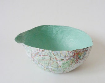 large paper Cup, Bowl, storage, with map of the world from an old Atlas,