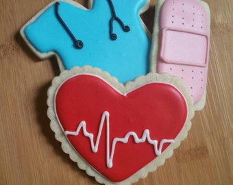 Decorated Iced Sugar Cookies EMS Doctor Nurse