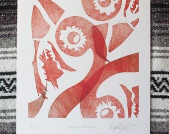 Red Bird Pattern - Bird Print Series