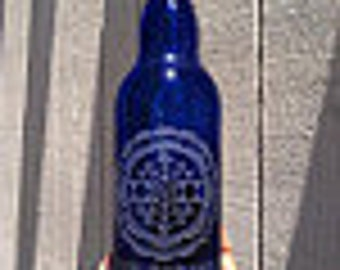 Give thanks cobalt blue glass bottle
