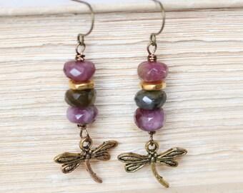 Tourmaline Dragonfly Earrings