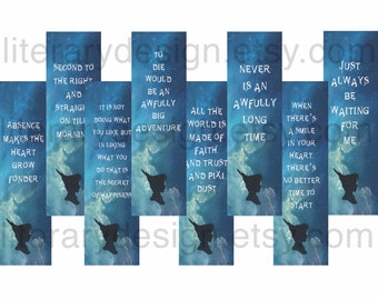 Peter Pan Printable Bookmarks -  J.M. Barrie - Downloadable Bookmarks - Book Lover Gift - Peter Pan Gift - Book Quote - Literature Quote