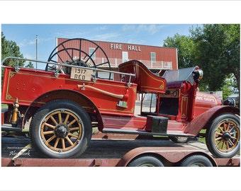 Vintage Fire Truck, Fire Hall, Wooden Spoked Wheels