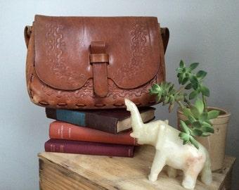 Vintage Tooled Brown Leather Purse / Bag