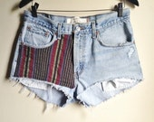 Vintage 90's Levi's Distressed Denim Shorts with Vintage Baja Fabric Accents