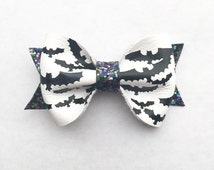 Halloween Bat Bow Collab with Sweet Pea Closet White Leather Bat Bow with Halloween Glitter Headband or Clip