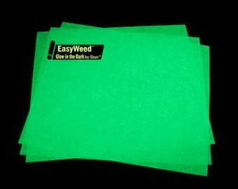 "Siser EasyWeed Glow In The Dark HTV 12x15"" Sheet Heat Transfer Vinyl Halloween HTV Glow In The Dark Heat Transfer Vinyl Iron On Vinyl"