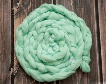 Mint Wool Braid, Newborn Prop Braid,Wool Basket Stuffer,Photo Prop Wool Braid,Wool Plait,Newborn Photography,Soft Wool Prop,Photo Prop Braid