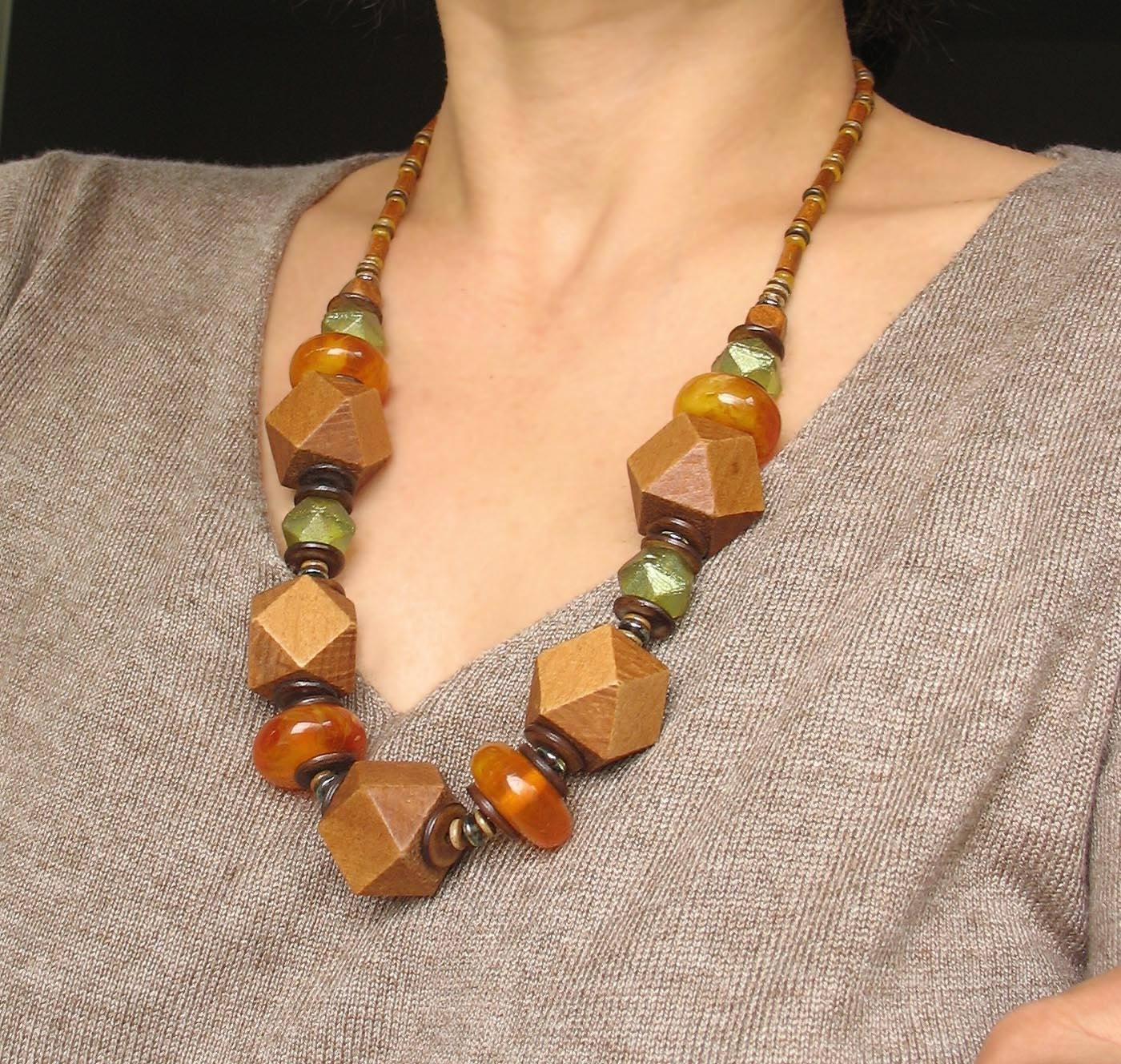 Necklace Beads: Wooden Necklace Geometric Large Bead Necklace Statement