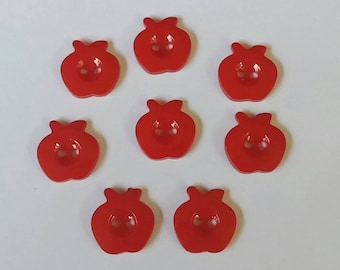 8 Red Apple Resin Buttons