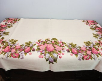 Vintage Luther Travis Della Robia Fruit Heavy Linen Tablecloth - 58 x 83