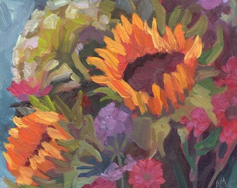 "Sunflower Bouquet 8 x 8"" Somerset Velvet Print"