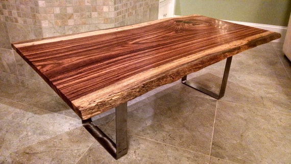Free Shipping Zebrawood Live Edge Wood Slab Coffee Table