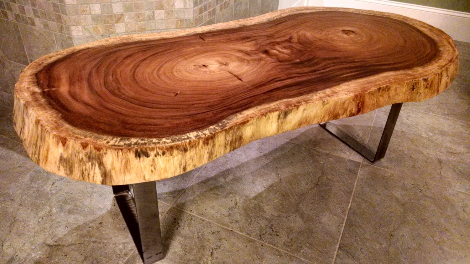 Free shipping guanacaste round live edge wood slab coffee for Furniture maker seattle