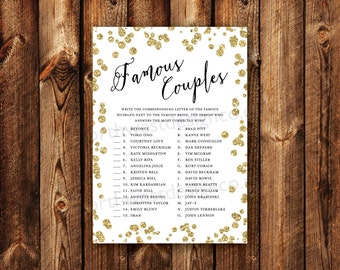 DIGITAL - Famous Couples Bridal Shower Game Celebrity Matching Name Game Gold Bling Printable Download Wedding Shower Game Card