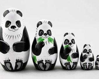 Matryoshka Matreshka Russian Nesting Doll Babushka Panda Set 5 Pieces