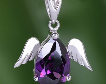 Super gift ANGEL pendant with AMETHYST 925 sterling silver