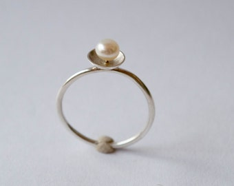 Freshwater pearl ring , Sterling silver pearl ring , White Freshwater Pearl ring in Sterling Silver ,  Round stacking ring