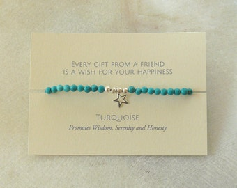 Turquoise and Sterling Silver Charm Friendship Bracelet Card