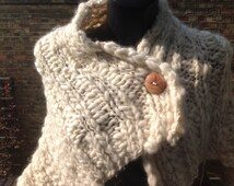 Hand knitted 100% alpaca cream shrug/ scarf super soft and chunky