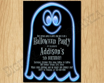 Halloween Invitation Halloween Party Invite Costume Party Kids Birthday Party Boy Birthday Neon Blue Ghost K0011