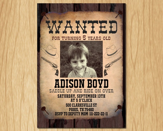 cowboy birthday invitation wanted poster old wild west. Black Bedroom Furniture Sets. Home Design Ideas