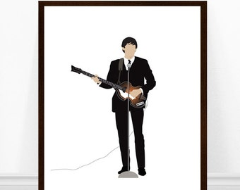 Paul McCarney Print, Paul McCartney Art Print, Beatles Art, Beatles Print, The Beatles, Paul McCartney Minimalist Print