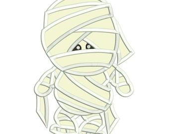 Halloween Mummy Applique Embroidery Design Download Stitch Design - 0174