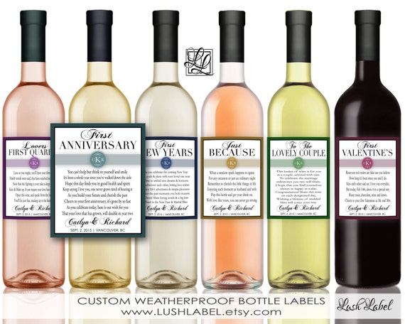 Marriage Firsts Milestones Poems Wedding Gift Wine by LushLabel