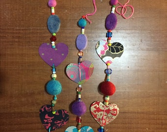 Paper Heart and Wool Felt Ornament - decoration and gift with handmade paper and beads