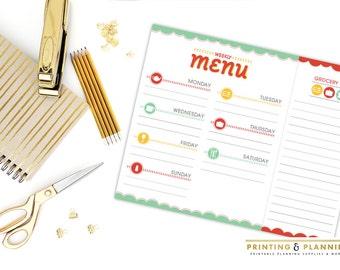Printable Meal Planner, Menu Planner, Grocery List, Grocery Shopping List, Weekly Menu, Household Printable - INSTANT DOWNLOAD